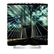 Storm Over The Bridge  Shower Curtain