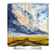 Storm Over The Country Road Shower Curtain