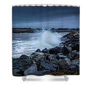 Storm Over The Jetty 1 Shower Curtain