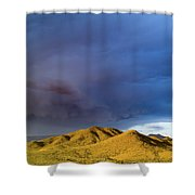 Storm Rolling Across Sun Dappled Mountains Shower Curtain