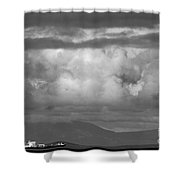 Storms Over The Cargo Ship - Black And White Shower Curtain