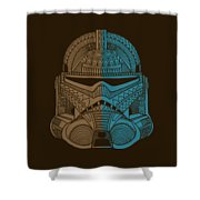Stormtrooper Helmet - Star Wars Art - Brown Blue Shower Curtain