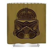 Stormtrooper Helmet - Star Wars Art - Brown  Shower Curtain