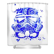 Stormtrooper Mask Blue 1 Shower Curtain