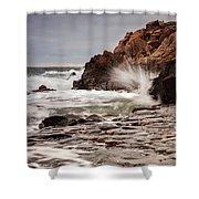 Stormy Beach Waves Shower Curtain