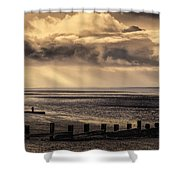 Stormy English Coastal Seascape Shower Curtain
