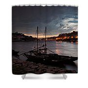 Stormy Evening Sky Above Porto And Gaia Shower Curtain
