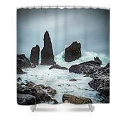 Stormy Iclandic Seas Shower Curtain