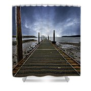 Stormy Jetty Shower Curtain by Meirion Matthias