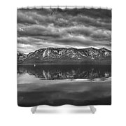 Stormy Lake Tahoe Black And White Shower Curtain