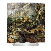 Stormy Landscape -  1625 Peter Paul Rubens Shower Curtain
