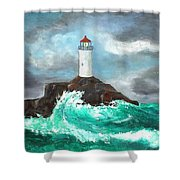 Stormy Ligthouse Shower Curtain