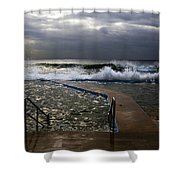 Stormy Morning At Collaroy Shower Curtain by Avalon Fine Art Photography