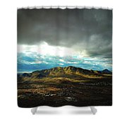 Stormy Mountains In Sunlight Shower Curtain