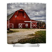 Stormy Red Barn Shower Curtain