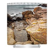 Stormy Rock Beach Shower Curtain