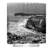 stormy sea - Slow waves in a rocky coast black and white photo by pedro cardona Shower Curtain