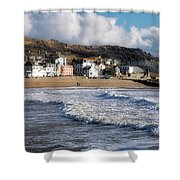 Stormy Seafront - Lyme Regis Shower Curtain