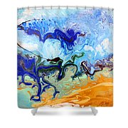 Stormy Seas Abstract #3 Shower Curtain