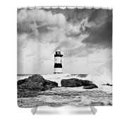 Stormy Seas Black And White Shower Curtain