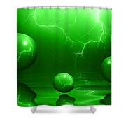 Stormy Skies - Green Shower Curtain