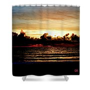 Stormy Sunrise Over The Ocean  Shower Curtain