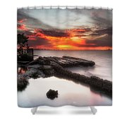 Stormy Twilight Afterglow Shower Curtain