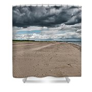 Stormy Weather Over Tentsmuir Beach In Scotland Shower Curtain