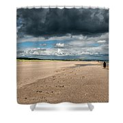 Stormy Weather Over The Beach In Scotland Shower Curtain
