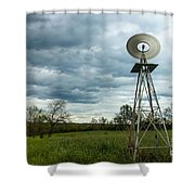 Stormy Windy Windmill Shower Curtain