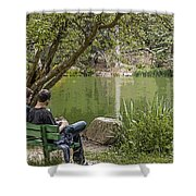 Stow Lake Shower Curtain by Kate Brown