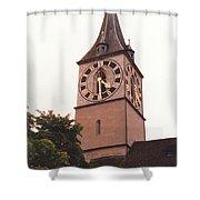 St.peter Church Clock In Zurich Switzerland Shower Curtain
