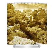 Strange Rock Formations At El Torcal Near Antequera Spain Shower Curtain