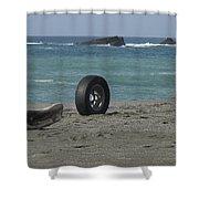 Strange Tire Ad Shower Curtain