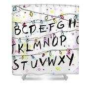 Stranger Things Alphabet Wall Christmas Lights Shower Curtain