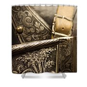 Strapped In Steel Shower Curtain