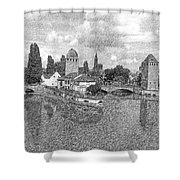 Strasbourg. View From The Barrage Vauban. Black And White 2 Shower Curtain