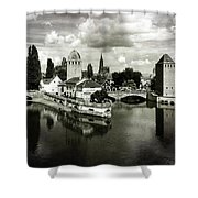 Strasbourg. View From The Barrage Vauban. Black And White Shower Curtain