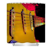 Guitar Pop Art Hot Rasberry Fire Neck Series Shower Curtain