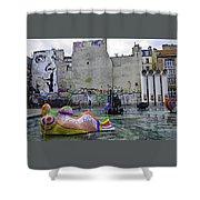 Stravinsky Fountain Near Centre Pompidou In Paris, France Shower Curtain