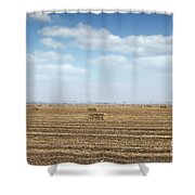 Straw Bale And Center Pivot Sprinkler System On Field Shower Curtain