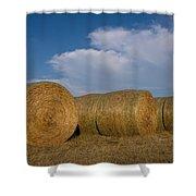 Straw Bales On A Hog Farm In Kansas Shower Curtain