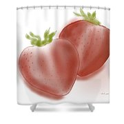 Strawberries Airbrushed Shower Curtain