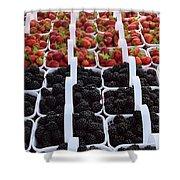 Strawberries And Blackberries Shower Curtain