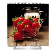 Strawberries And Cream Shower Curtain