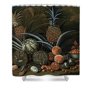 Strawberries In A Porcelain Bowl With Pineapples Melons Peaches And Figs Before A Tropical Landscape Shower Curtain