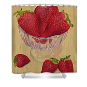 Strawberries In Crystal Dish Shower Curtain