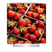 Strawberries With Green Weed In Plastic Containers  Shower Curtain