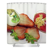 Strawberry And Easter Eggs Shower Curtain
