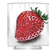 Strawberry Bite Shower Curtain by Janet Moss